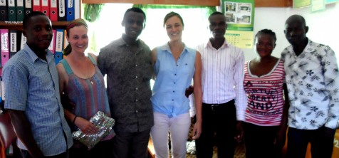 Trax Ghana staff present Rachael with a gift in appreciation of her work with Trax