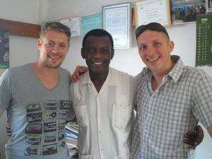 Trax Ghana Director with the Producer of TV Brussels and a teacher of the British School of Brussels