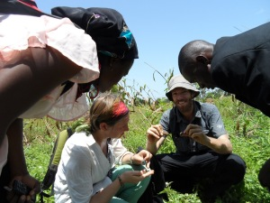 Dr. Volker Häring and Trax staff taking soil samples at fields in the Upper East Region