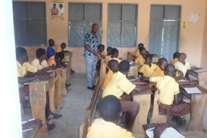 Primary Six Pupils writing their entrance exams for promotion into JHS-1